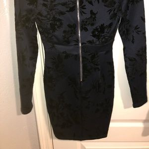 Windsor blue mini dress with black velvet flowers